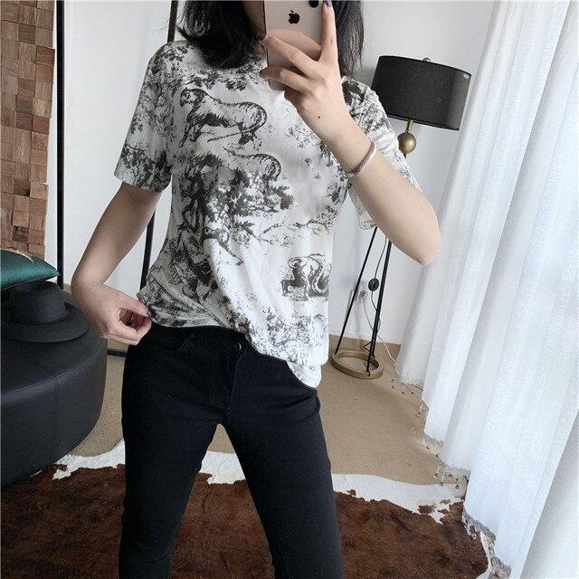 2019 summer new harajuku women tshirt tops runway cotton short sleeve ladies casual women T shirt streetwear clothes
