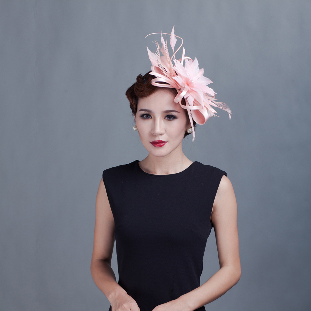 2016 New Fashion Lady Fascinators Satin Feather Flower Hats Hairclip Women  Hair Accessories Elegant Fascinator For Wedding Party-in Women s Hair  Accessories ... cdd7595697a