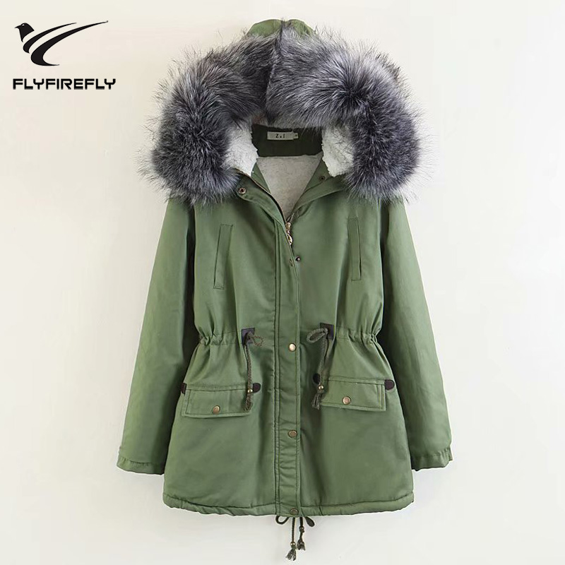 2019 New Fashion Army Green   Parkas   Jacket Women Thickening Zipper Hooded Coat Casual Winter Warm Female Jackets Outwear   Parka