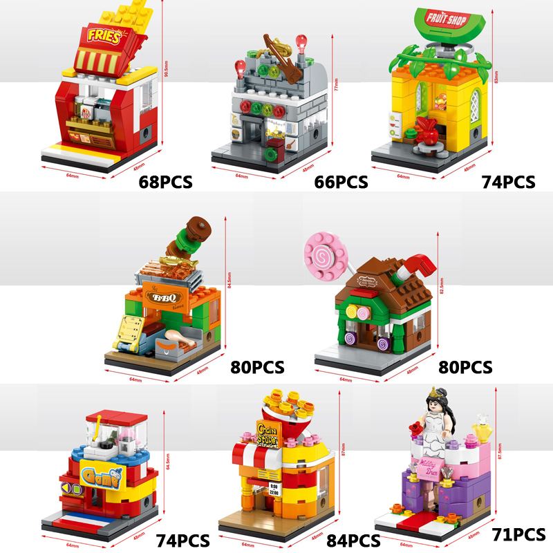 Fun city mini street view block BBQ Fruits Fries Musical instrument Candy Wedding dress shop Game Room Popcorn Corner brick toys legos for boys ninjago