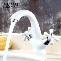 Frud new white brass Spray paint Basin faucet Dual Handle Vessel Sink Mixer Tap Hot and cold separation switch torneira R10332