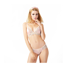 Ultra-thin comfortable satin lace lingerie bra set