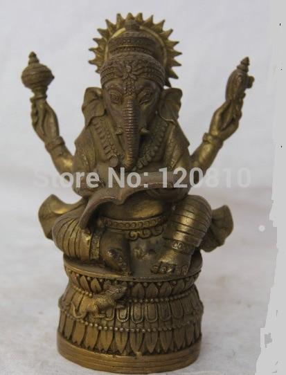 Tibet Buddhism Brass Four Hand Elephant Konk Jambhala Buddha Look Book Statue