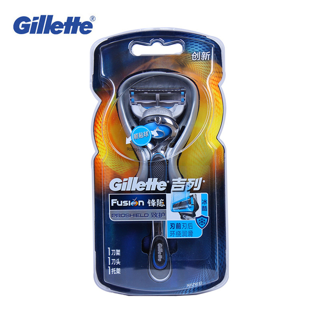 Новый Подлинная Gillette Fusion Бритвы Proshield Flex Мяч Марка Бритья Машины 1 держатель с 1 bladese Моющиеся Бритвы Cool Mint