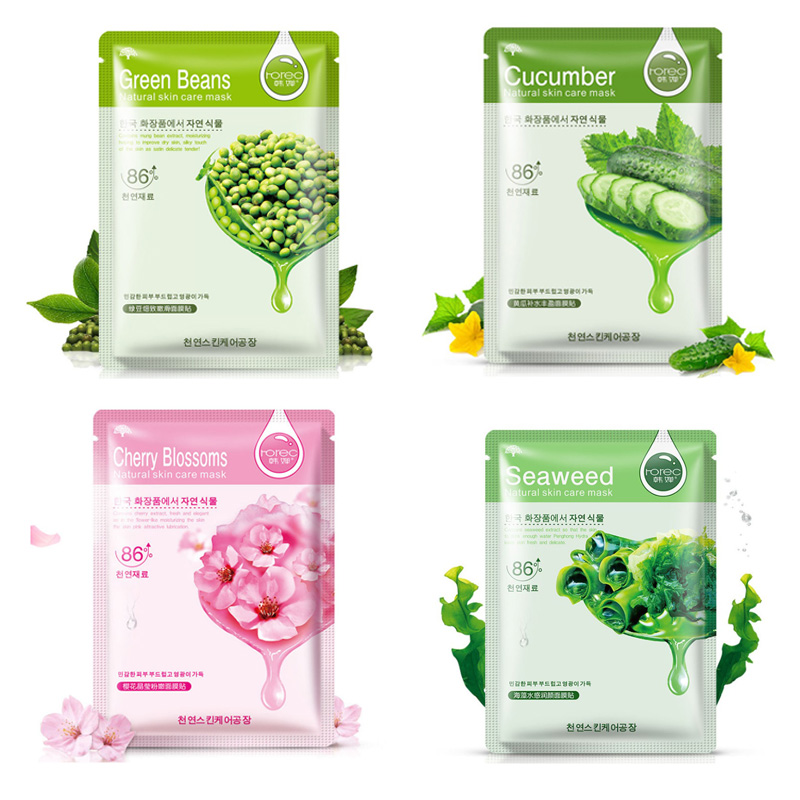 5Pcs HanChan Skin Care Plant Facial Mask Moisturizing Oil Control Whitening Face Masks Multi Extract Makeup Products