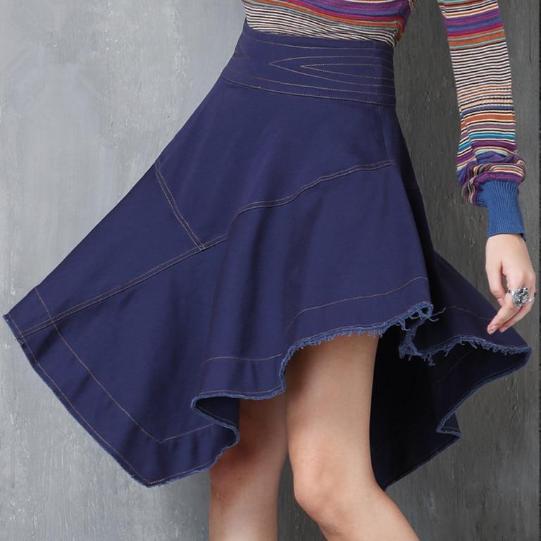 Women Skirt 2017 SIPAIYA Autumn Winter New Cotton Saias Asymmetrical Denim Skirt Vintage Skirt Female Elegant Saias X2215