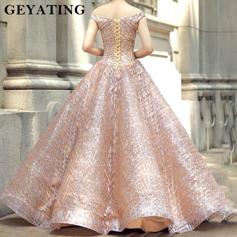 53b7a86878 Sparkly Rose Gold Sequined Ball Gown Wedding Dress Princess Off Shoulder Bridal  Dresses 2019 Saudi Arabia Dubai Wedding Gowns-in Wedding Dresses from ...