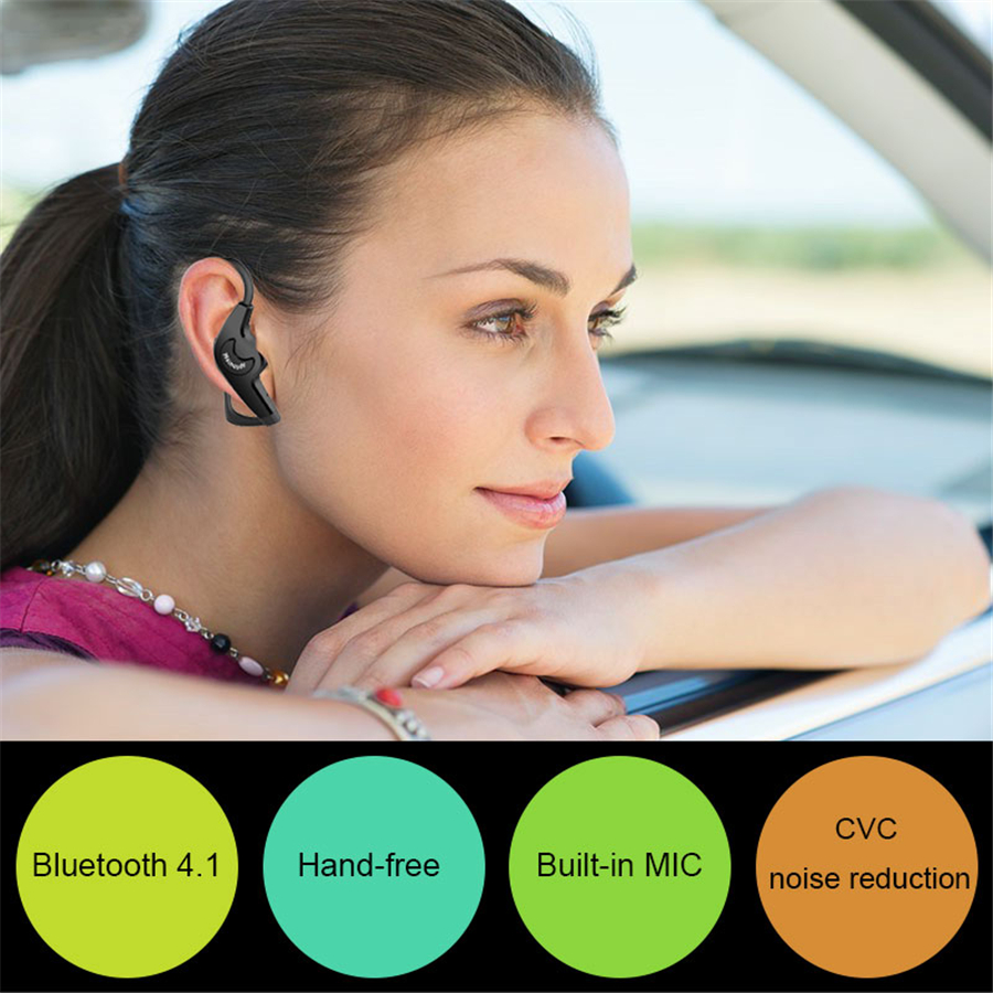Business Bluetooth Wireless Earphone mini Single-Side Headset With Ear Hook Noise Cancelling Sport Earbuds With Mic for iPhone