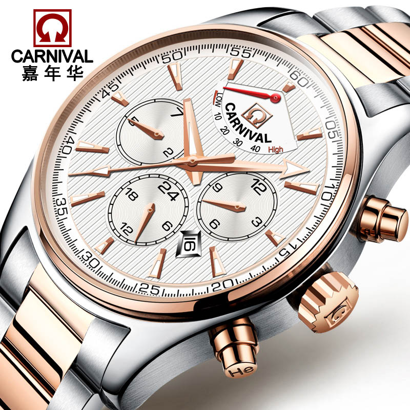 Mens Watches Top Brand Luxury Carnival Automatic Mechanical Watch Men Stainless Steel Wristwatches New Male Clock Montres Homme tevise men black stainless steel automatic mechanical watch luminous analog mens skeleton watches top brand luxury 9008g