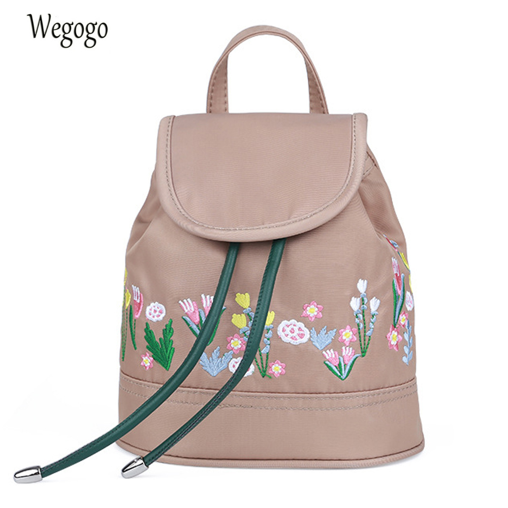Young Ladies Nylon Backpack Casual Flower Embroidery Shoulder Bag Small Cute Travel Schoolbag  Mini Rucksack MochilaYoung Ladies Nylon Backpack Casual Flower Embroidery Shoulder Bag Small Cute Travel Schoolbag  Mini Rucksack Mochila