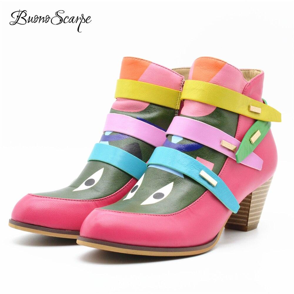 BuonoScarpe Botas Mujer invierno tobillo Botas Mujer tacones altos Zapatos Mujer Correa Zapatos tacón alto Casual Botines de tacón grueso-in Botas hasta el tobillo from zapatos    1