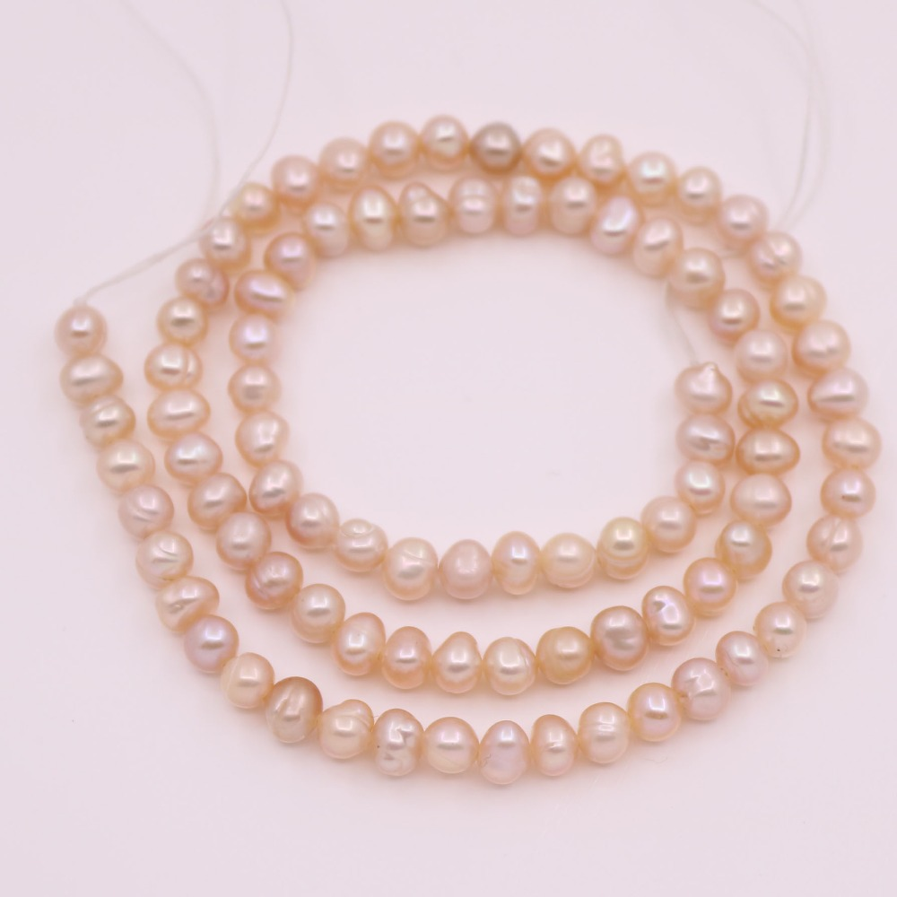 "Купить с кэшбэком 4mm-4.5mm Oval Natural Pink Pearl Stone Loose Beads Jewelry Making 14"" Long"