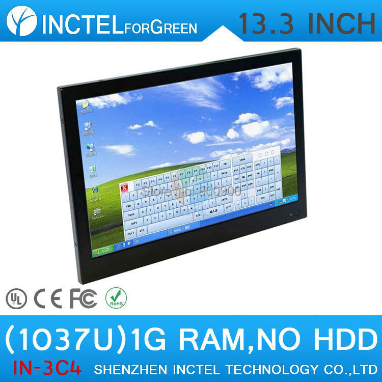 13.3 inch resistive All-in-One touchscreen embeded PC 1G RAM ONLY Windows XP 7 8 with Intel Celeron C1037U 1.8Ghz pc magazine® windows® xp speed solutions