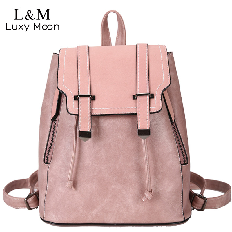 Image 1 - Women Leather Backpacks For Teenage Girls School Bags Sac a Dos Preppy Style Female Backpack Mochilas Retro Rucksack 2020 XA104HBackpacks   -