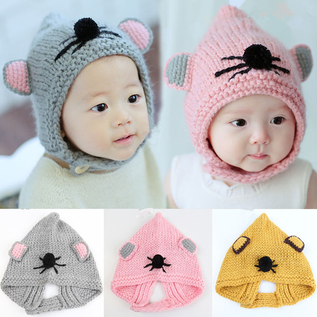 2018 Newborn Baby Girl Boy Infant Cute Mouse Warm Hat Cap Bebe Toddler  Fashion Beanie Headwear Kids Hats Boys Caps Accessories d721591ca95c