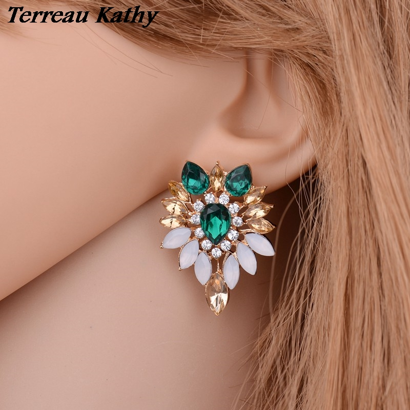 Terreau Kathy Wholesale Crystal Earring Female Bohemia Fine Jewelry Rhinestone Leaves Stud Earrings for Women
