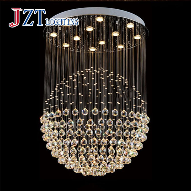 T Large Luxury Crystal Circular Ceiling Light For Hotel Engineering Penthouse Floor Hall Stair With LED Bulb 3 Color Temperature ...