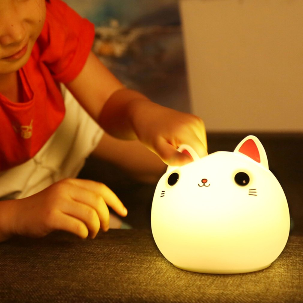 ICOCO Colorful silicone cat Night light LED USB lamp Cute Animal Soft Cartoon Lamps Fine Gift For Children Bedroom Baby Nursery