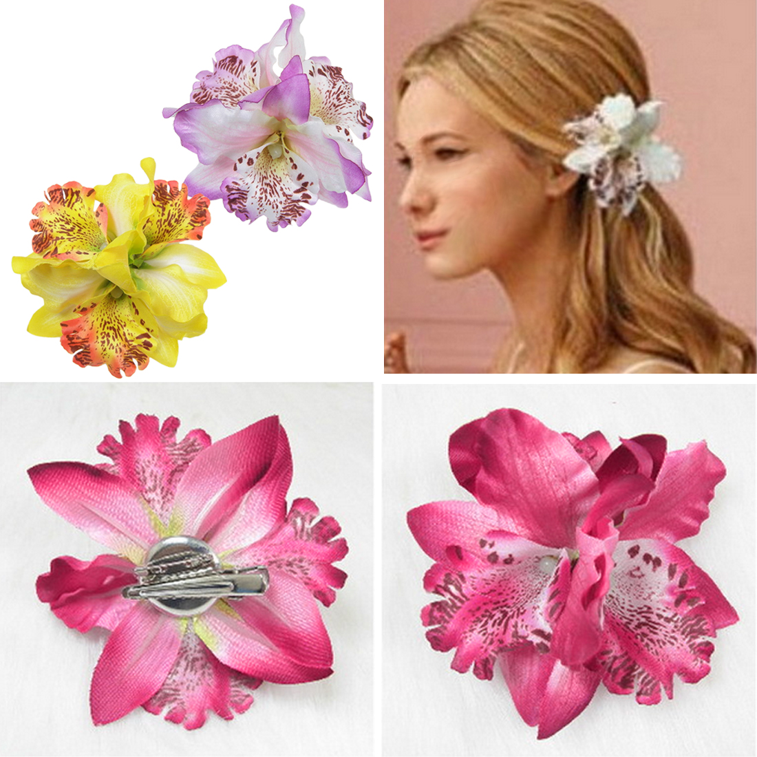 us $0.87 20% off|seaside holiday travel photo simulation three valve thailand phalaenopsis brooch bride orchid flower hair accessories dual use-in