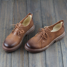 Careaymade-Hot new head of cowhide in spring Literature  single shoes, antique color, casual shoes and real leather