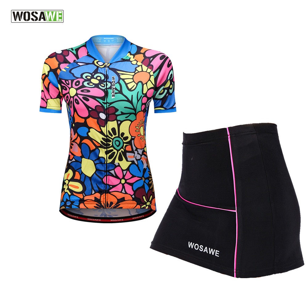 WOSAWE Female Mini Skirt + Shirt Ropa Ciclismo Cycling Jersey Sets Breathable MTB Bike Clothing Women Short Sleeve Clothes wosawe female mini skirt shirt ropa ciclismo cycling jersey sets breathable mtb bike clothing short sleeve clothes