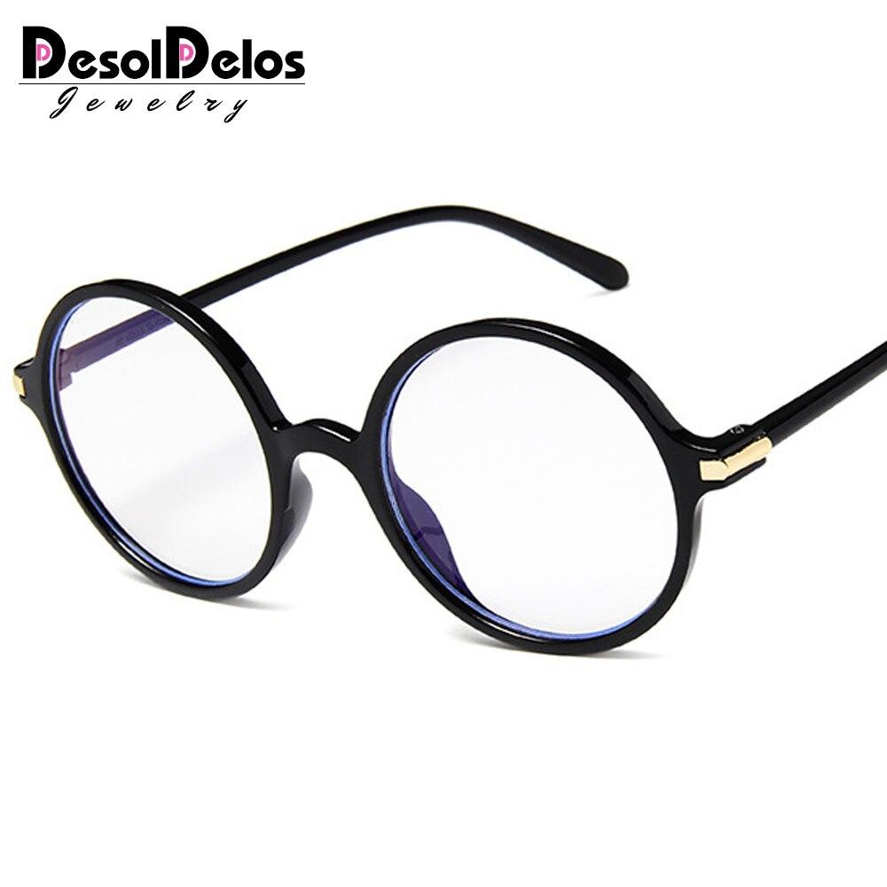 DesolDelos Round Glasses Frame Men Anti Blue Light Glasses Women Fake Glasses Pink Optical Eyeglasses Frame Transparent Lens