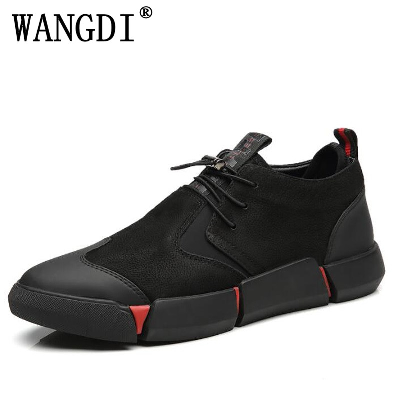 Bild von NEW spring autumn Brand High quality all Black Men's leather casual shoes Fashion Breathable Sneakers fashion flats size 38-45