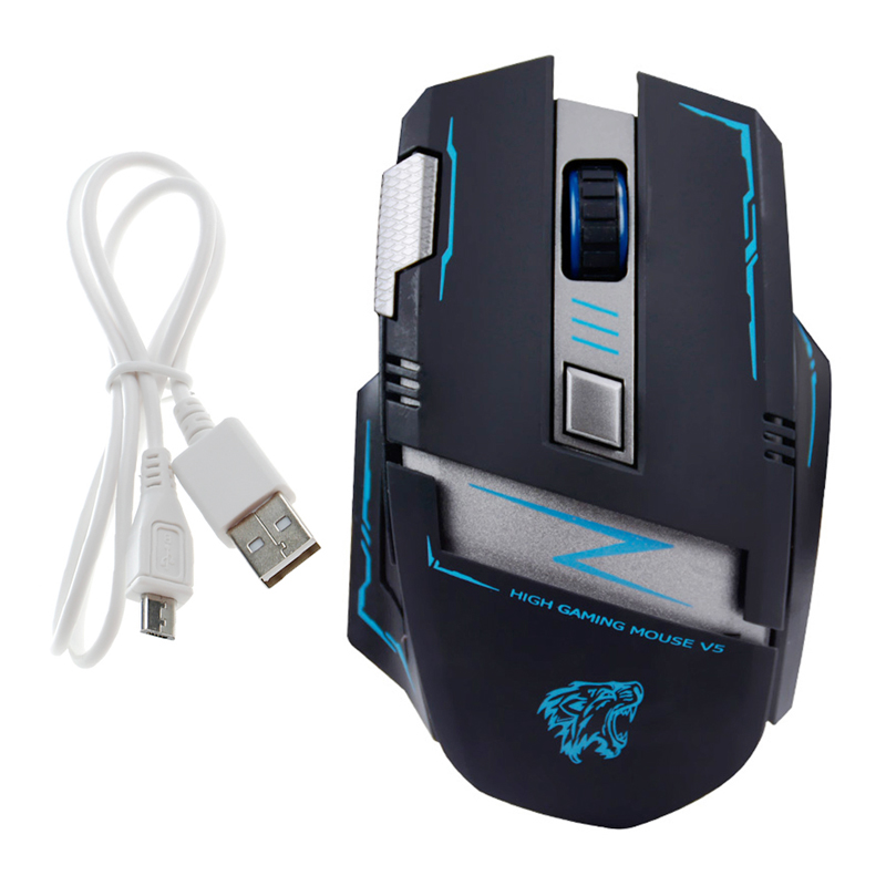 2.4Ghz Wireless Gaming Mouse Optical Rechargeable 6 Buttons Adjustable Mute Game Mouse Mice DN001