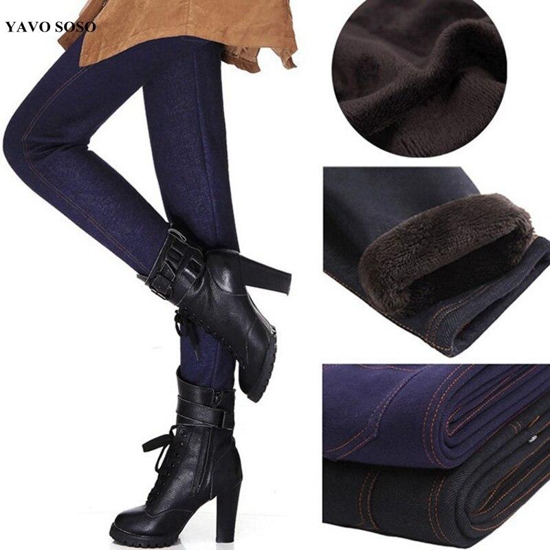 Autumn Winter Plus Velvet Thick Warm Leggings Imitation Denim Big Size Plus Size XXXL Cotton Trousers Women Pants