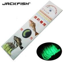 Jackfish 30 pçs/sets luminoso gancho de pesca com linha farpado ganchos de pesca aço pesca equipamento acessórios