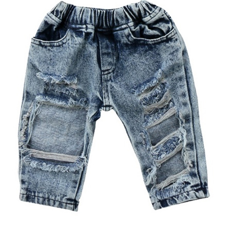 Ripped Jeans Trousers Spring Broken-Hole-Pants Baby-Boys-Girls Kids Fashion Summer Children title=