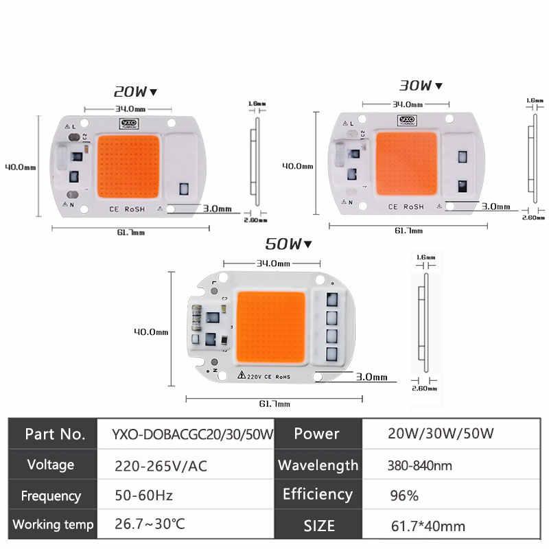 1 шт. Гидропоника переменного тока 220 В 20 Вт 30 Вт 50 Вт светодиодный чип для выращивания полный спектр 380nm-840nm для внутреннего светодиодного растительного светильник