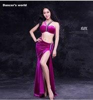 Women Luxury Belly Dance Clothes Elegant Stones Belly Dance Dress Girls Belly Dance Clothing Velvet Senior