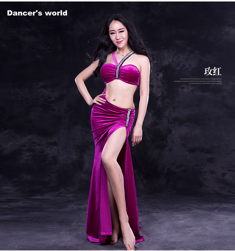 Women Luxury belly dance clothes Elegant stones belly dance dress girls belly dance clothing velvet senior belly dance dress M,L