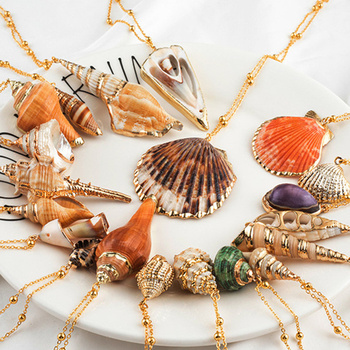 20 Styles Seashell Pendants Initial Necklace female Statement Jewlery