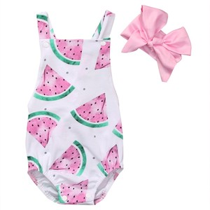Baby Girl Romper Watermelon Backless Jumpsuit +Headband 2PCS Outfits Sunsuit