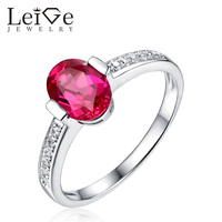 Leige Jewelry Solitaire Ruby Ring Oval Cut 925 Sterling Silver Romantic Engagement Rings for Women July Birthstone Bezel Setting