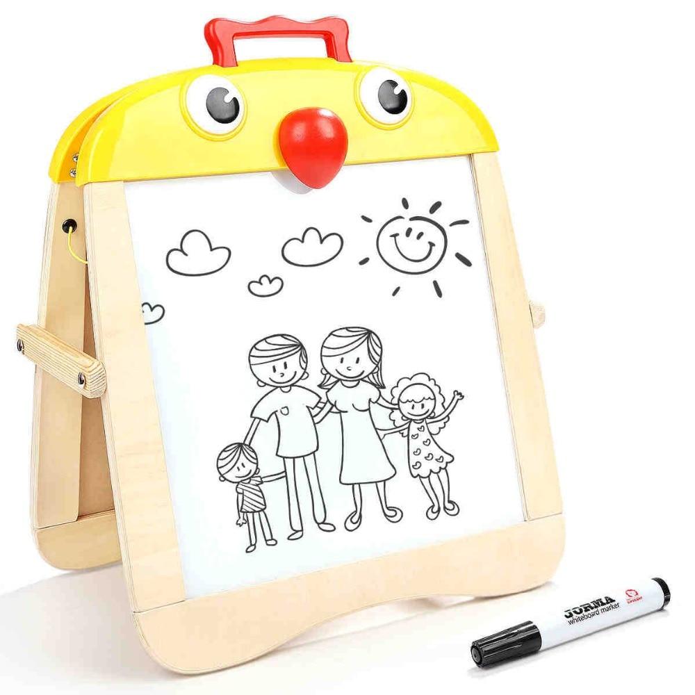 Haut LUMINEUX Portable Poussin Chevalet Enfants planche à dessin double-face magnétique conseil d'écriture bébé graffiti conseil Jouets 3Y +