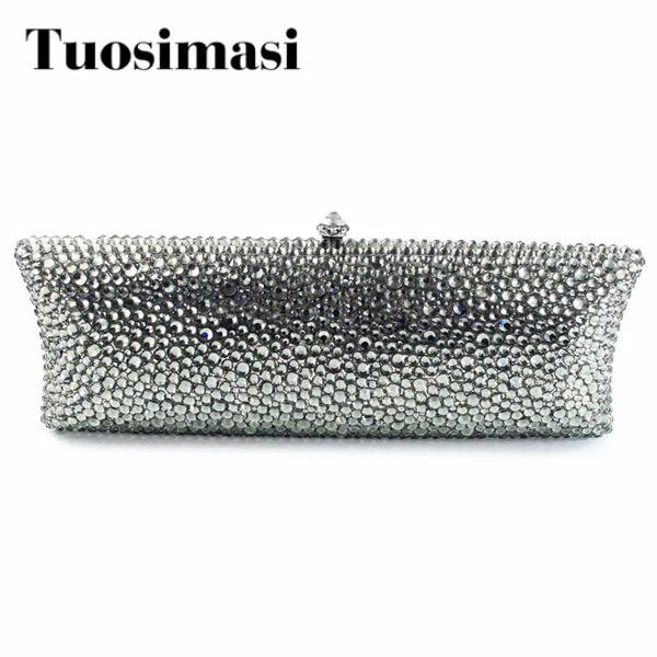 Graceful plain grey crystal clutch evening handbags clutch bag women purse(B1008-BG2) цена