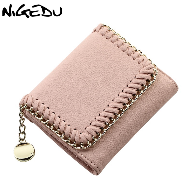 NIGEDU Women Wallets Tassel Pendant Short Money Wallets chain purse PU Leather Lady Coin Pocket Purses Female Cardbag Stella bag