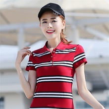 Women POLO Shirt Cotton Short-sleeved Shirt Slim Summer Female Casual Solid Polo shirt Big Size Plus Size Striped Women's Tops