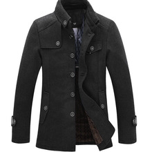 Дропшиппинг, бренд, зимняя мужская шерстяная куртка, повседневное пальто, мужские уплотненные куртки, Мужское пальто черного/серого размера плюс M-XXXL