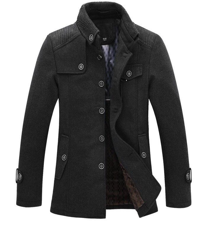 Drop Shipping New Brand Winter Men's Wool Jacket Casual Coat  Mens Thicken Jackets Men Overcoat Black/gray Plus Size M-xxxl