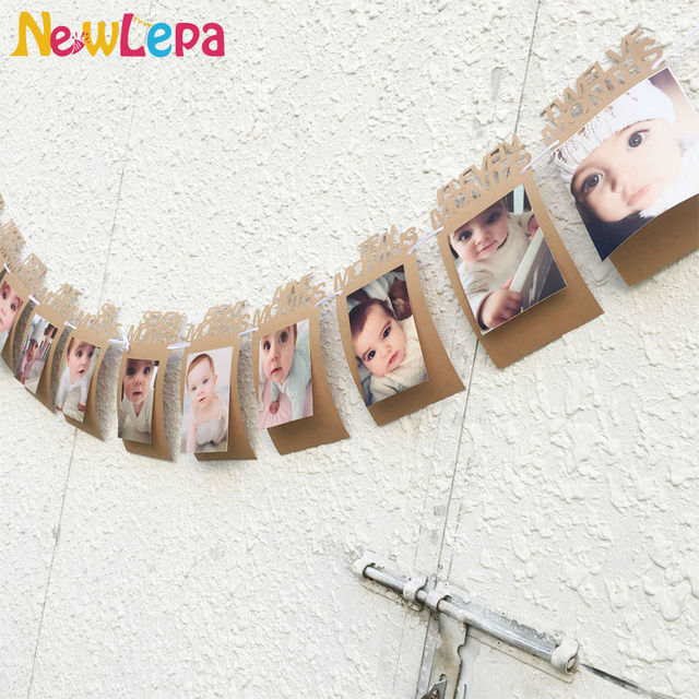 DIY Monthly Paper 1st One Year Photo Birthday Banner String Flag Accesorios Photo Booth Photo Frame Photo Album Party Decoration