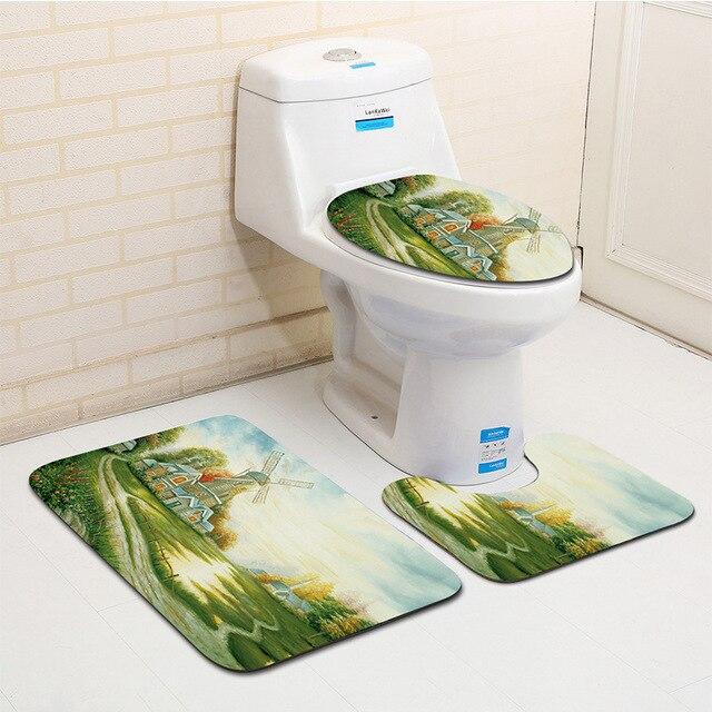 Zeegle микрофибра 3 шт. Набор ковриков для ванной живопись Rhyme коврики для ванной комнаты 3 шт. Противоскользящие коврики для ванной комнаты коврик для туалета