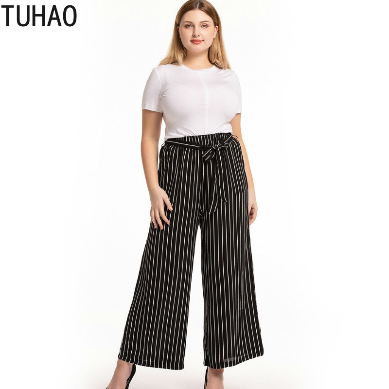 TUHAO Large Size 3XL 2XL Women   Pants     Wide     Leg     Pant   Office Lady Big Size Striped Women Trousers High Waist Women's   Pant   CMSZ