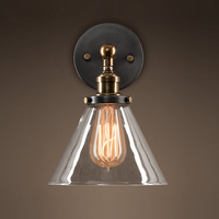 European Vintage Nostalgic antique iron wall sconce loft American glass wall lamp E27 home deco bedroom bedside light fixture