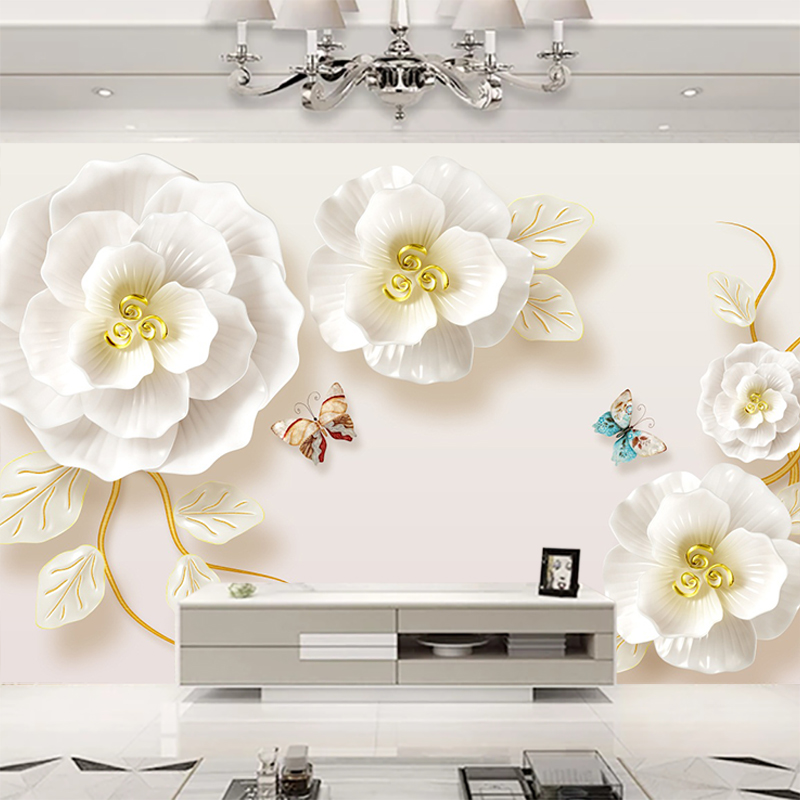 Jiashemeiju Custom 3d Mural Wallpaper For Bedroom Wall 3d Luxury Flower Butterfly Tv Background Photo Wall Paper Home Decor Hall