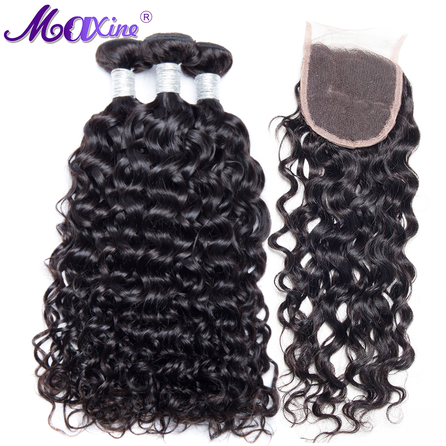 Maxine Water Wave 3 Bundles With Closure Brazilian Human Hair Weave Bundles And Lace Frontal Closure