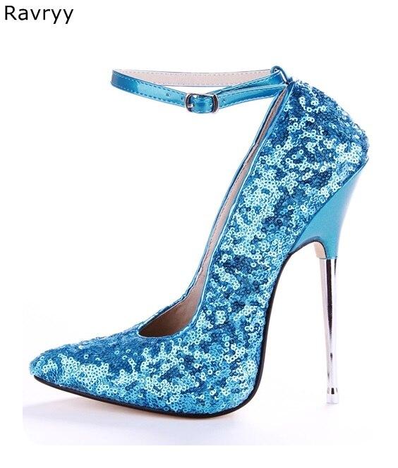 Bout Dance 13cm Partie En Modèle Clin Bleu Femmes Stiletto Haute Pompes Chaussures Pole Afficher Pointu Sexy Talon 16cm Club Femme Métal qUIwxfaIR
